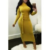 Lovely Euramerican Long Sleeves Slim Yellow Knitti