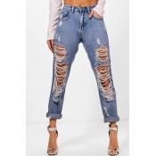 Lovely Euramerican Broken Holes Blue Jeans