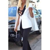 Lovely Trendy Long Sleeves Cape Design White Coat