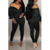 89bdb9e226f02 Lovely Trendy Dew Shoulder Skinny Black Cotton One-piece Jumpsuit