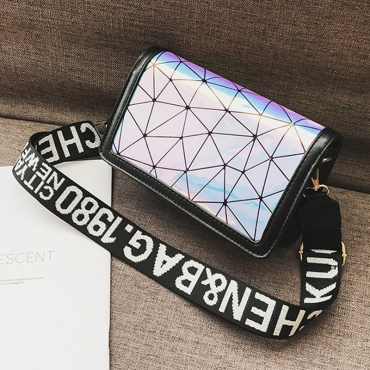Lovely  Fashion Geometric Printed Black Patent Leather Messenger