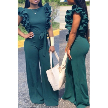Lovely  Casual Lace-up Flounce Design Green One-piece Jumpsuit