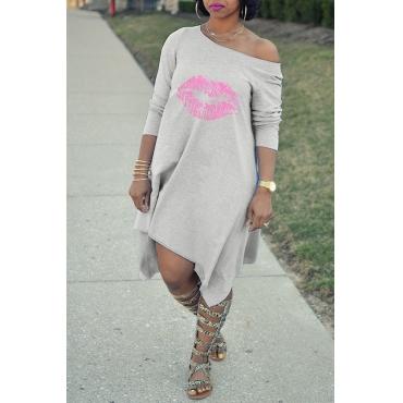 Lovely Euramerican  Printed Asymmetrical Grey Mid Calf Dress