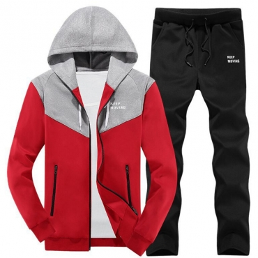 Lovely Casual Hooded Collar Patchwork Red Cotton Two-piece Pants Set