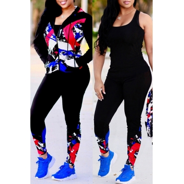 Lovely Sportswear Hooded Collar Printed Red Knitting Two-piece Pants Set