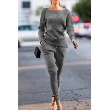 Lovely Trendy Pockets Grey Blending Two-piece Pants Set