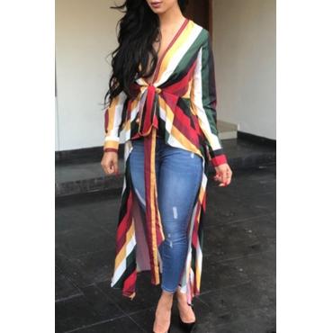 Lovely   Euramerican Asymmetrical Patchwork Multicolor Shirts