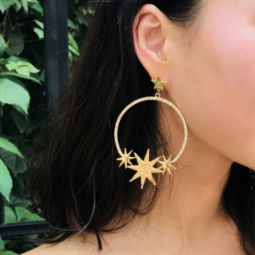 Lovely Fashion Stars Shape Gold Metal Earring