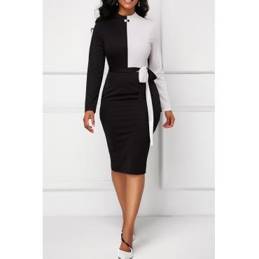Lovely Elegant Patchwork Black Knee Length Dress