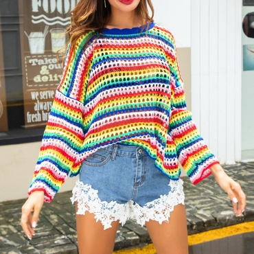 Lovely  Sweet Hollowed-out Batwing Sleeves Multicolor Sweaters (No Bra)