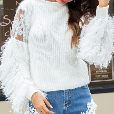 Lovely Sweet Tassel  Lace Spliced White Sweaters