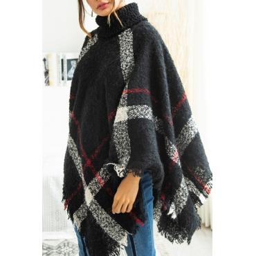 Lovely Trendy Cloak Design Torn Edges Black Sweaters