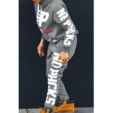 Lovely  Casual Hooded Collar Letters Printed Grey Knitting Two-piece Pants Set