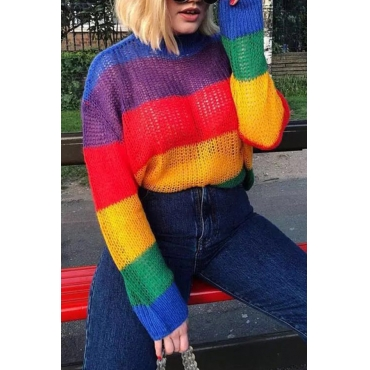 Lovely Sweet Color-striped Multicolor Mohair Sweaters