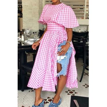 Lovely Sweet Grids Printed Long Pink Cotton Blouses