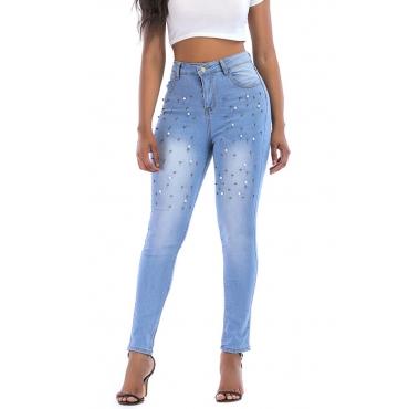 Lovely Euramerican Rivet Decorative  Sky Blue Cotton Jeans