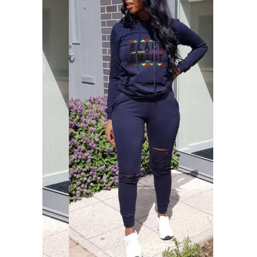 Lovely Casual Hooded Collar Letters Printed Deep Blue Two-piece Pants Set