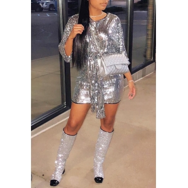 Lovely Euramerican Sequined Lace-up Silver Mini Dress