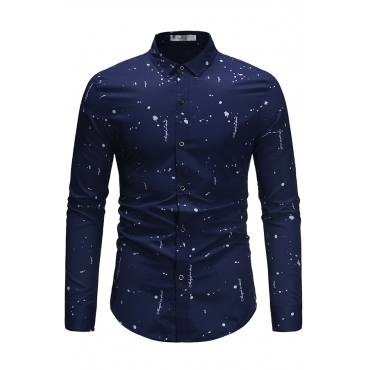Lovely Casual  Printed Navy Blue Cotton Shirts