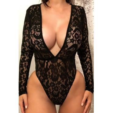 Lovely Sexy V Neck Hollowed-out Black Bodysuit