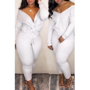 Lovely Casual Cross-over Design White Two-piece Pants Set