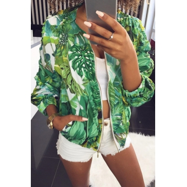 Lovely Casual Floral Printed Short Green Coat