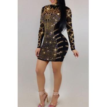 Lovely Sexy Hot Drilling Decorative Black Mini Dress