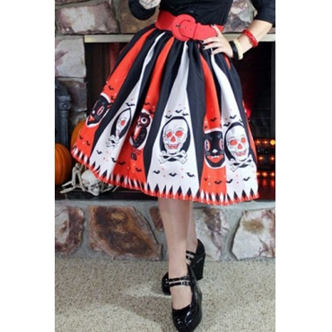 Lovely Euramerican Halloween Party Orange Mid Calf Skirts