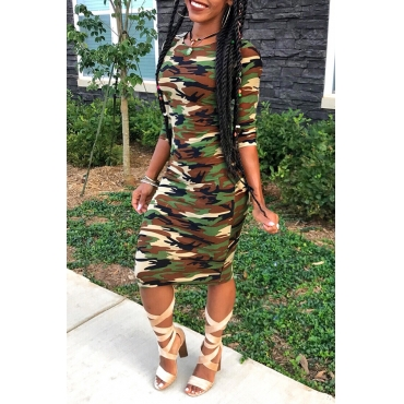 Lovely Casual Camouflage Printed Army Green Knee Length Dress