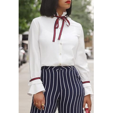 Lovely Casual Long Sleeves White Blouses