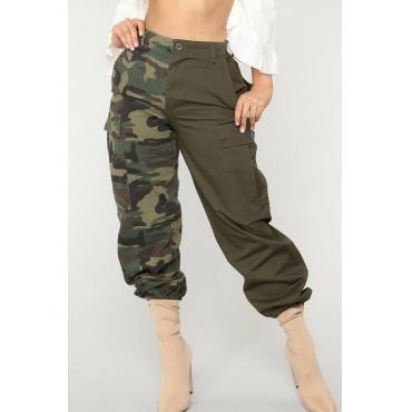 Bel Pantalone Verde Militare Con Patchwork Mimetico Stampato Euramericano
