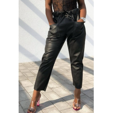 Lovely Euramerican Lace-up Black PU Pants