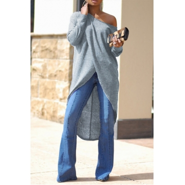 Lovely Trendy Asymmetrical Sloping Shoulder Grey Blouses