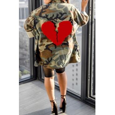 Lovely Euramerican Long Camouflage Printed Coat