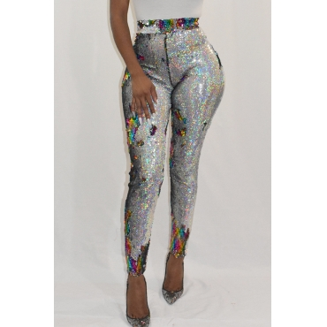 Lovely Euramerican Colorful Shining  Sequined Decorative Skinny Multicolor PU Pants