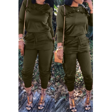 Lovely Casual Stringy Selvedge Army Green Blending Two-piece Pants Set