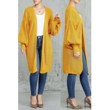 Lovely Trendy Lantern Sleeves Orange Blended Coat