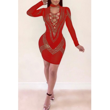 Lovely Sexy Hot Drilling Decorative Red Knitting Mini Dress