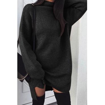 Lovely Euramerican  Long Sleeves Black Knee Length Dress