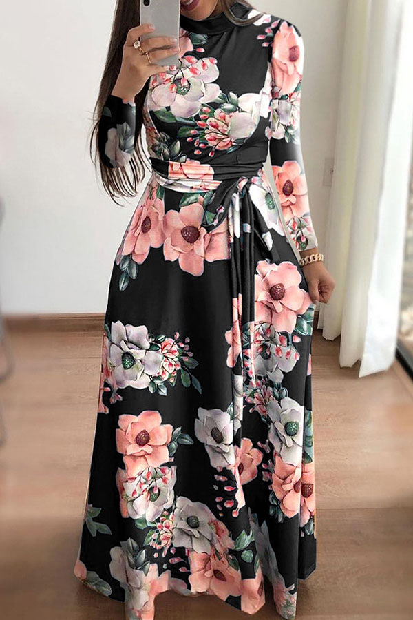 Lovely Casual Floral Printed Black Blending Floor length Dress