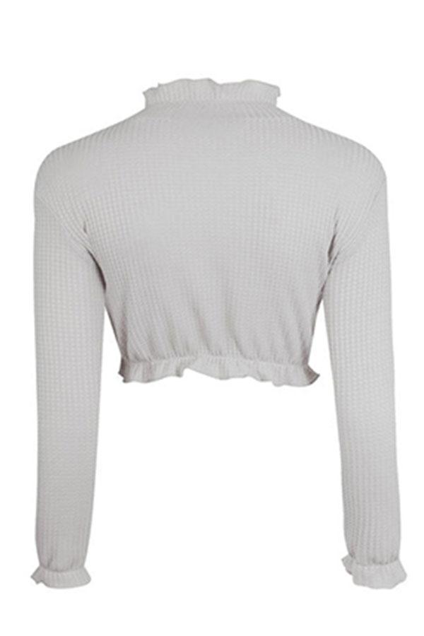 Lovely Sweet Flounce Design Short Grey Knitting Sweaters