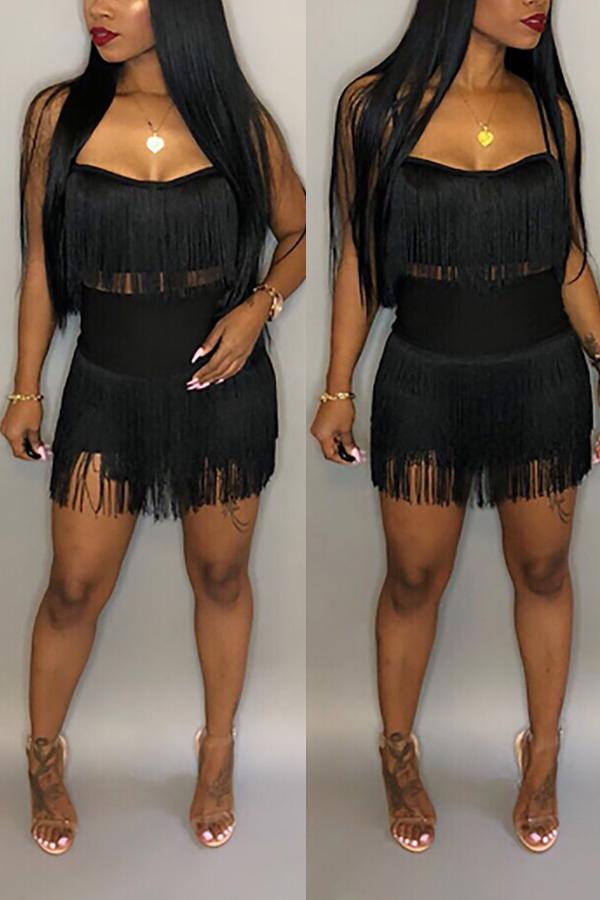 Lovely  Sexy Sleeveless Tassel Black Cotton Blends Two-Piece Skirt Set