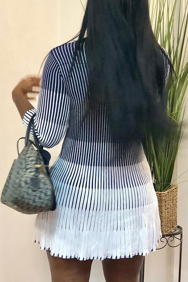 Lovely Sweet Gradual Change Printed White Mini Dress