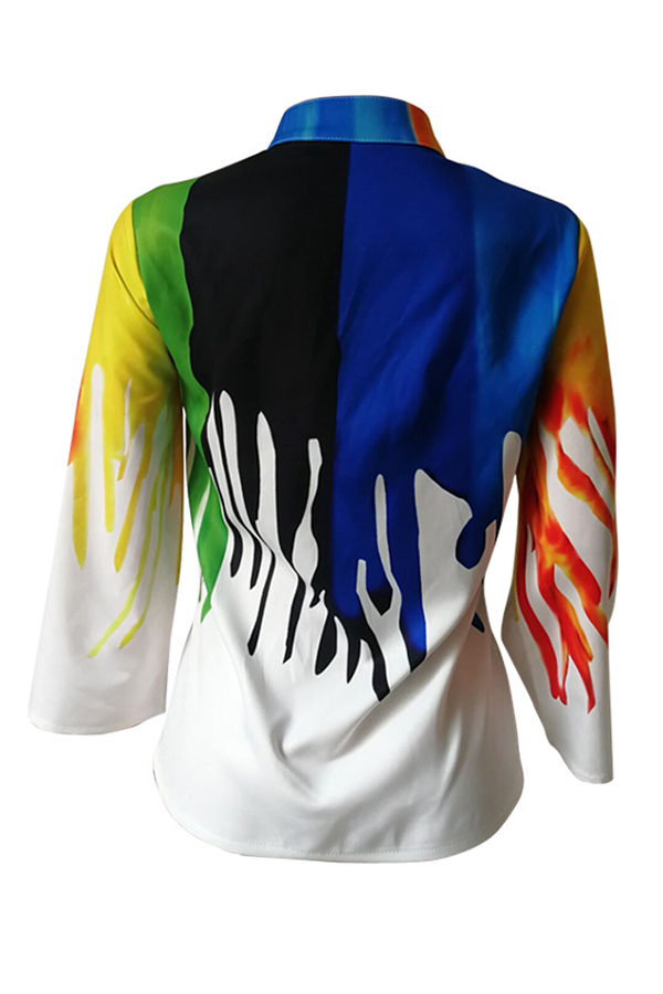 Lovely Trendy Color-lump Printed White Blouses