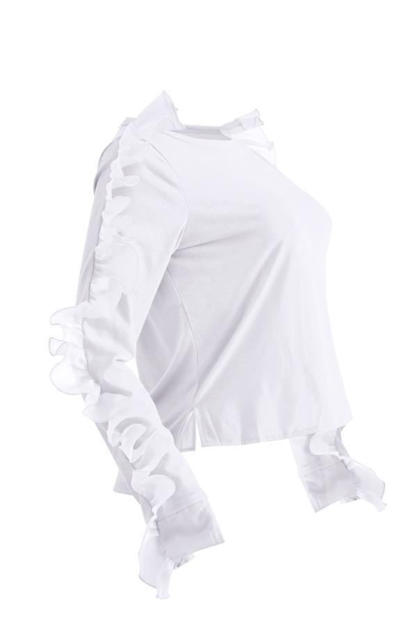 Lovely Sweet Flounce White T-shirt