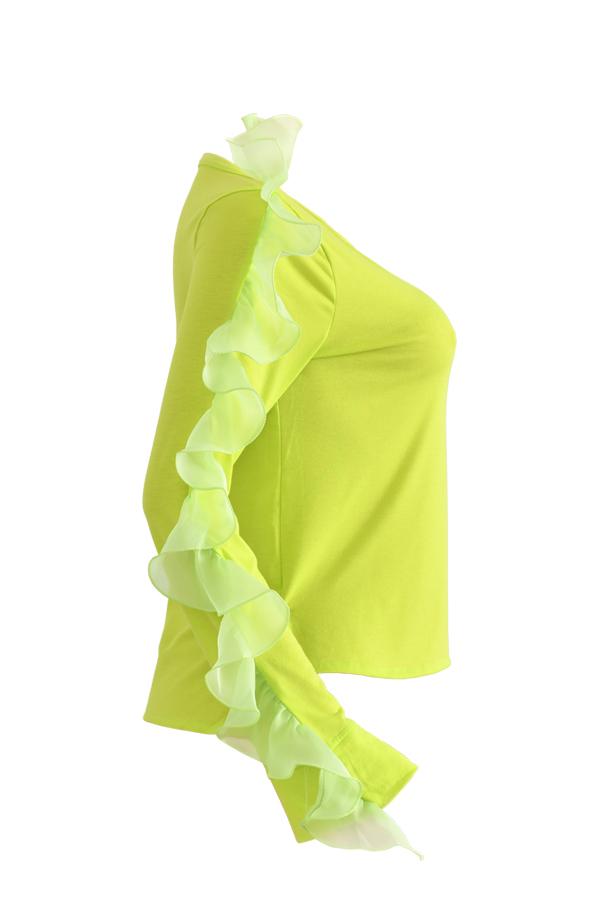 Lovely Sweet Flounce Design Yellow T-shirt