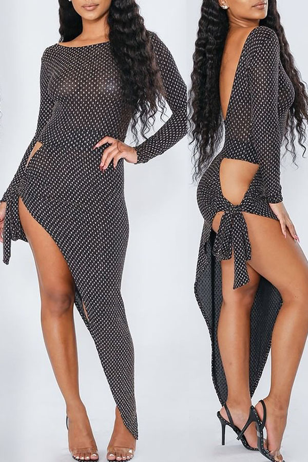 Lovely Sexy Asymmetrical Hollowed-out Grey Gauze  Ankle Length  Dress