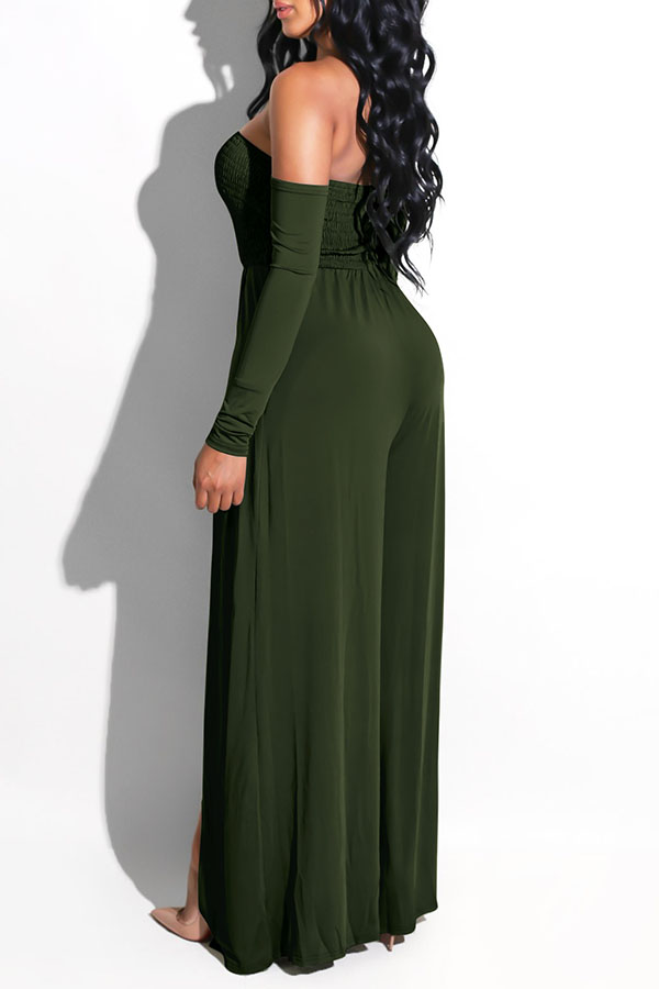 Lovely Casual Side High Slit Army Green Knitting One-piece Jumpsuit