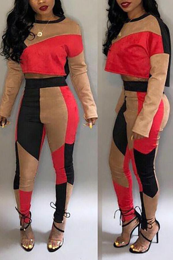 Precioso Patchwork Casual Rojo Tejer Dos Piezas Conjunto De Pantalones