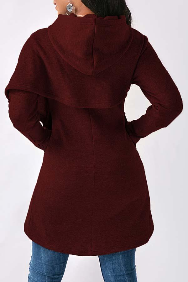 Sudaderas Con Capucha De Algodón Rojo Purpurino Asimétrico Encantador De Moda
